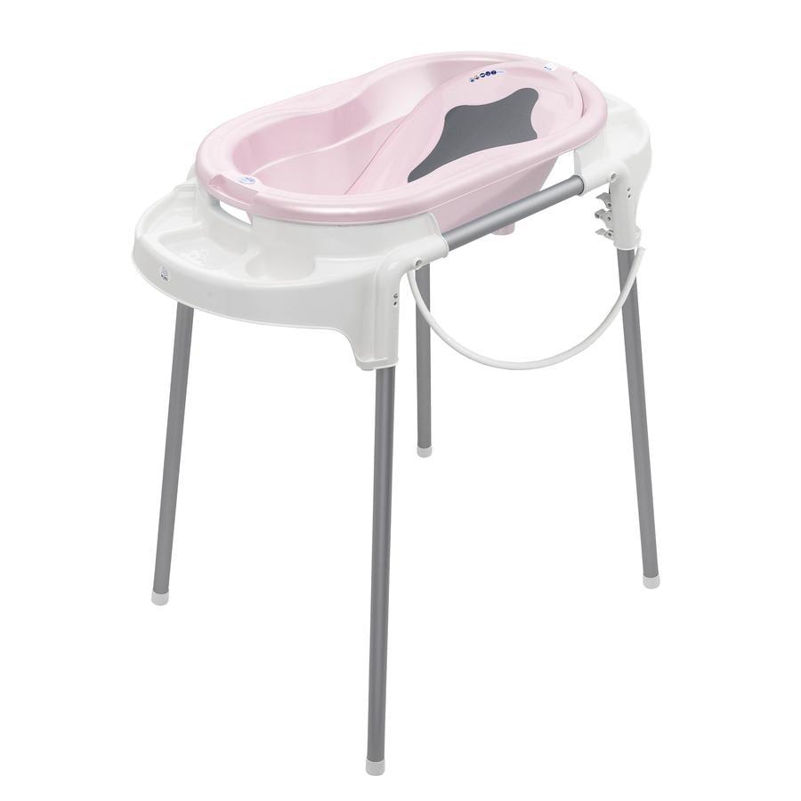 Rotho Babydesign Set bain baignoire bébé sur pieds TOP, rose pâle nacré