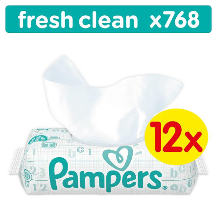 PAMPERS Vochtige doekjes Babyfresh Clean 12 x 64 Stuks voordeelspack Giga