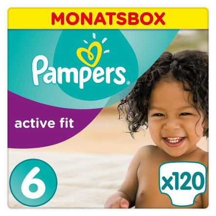 Pampers Pañales Active Fit talla 6 Extra grande 120 unidades 15+ kg Pack mensual