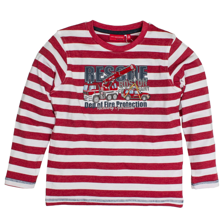 SALT AND PEPPER Boys Longsleeve Feuerwehr Ringel red