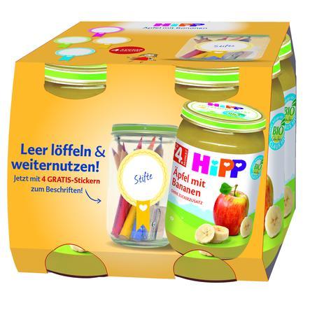 HiPP Früchte Äpfel mit Bananen 4 x 190 g + GRATIS Sticker
