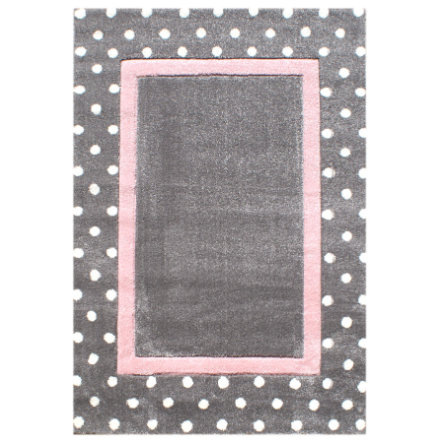 LIVONE Dywan dziecięcy Happy Rugs Kropki 120 x 180 cm, srebrnoszary/różowy