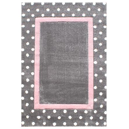 LIVONE Tapis enfant Happy Rugs Pois gris/rose, 120 x 180 cm