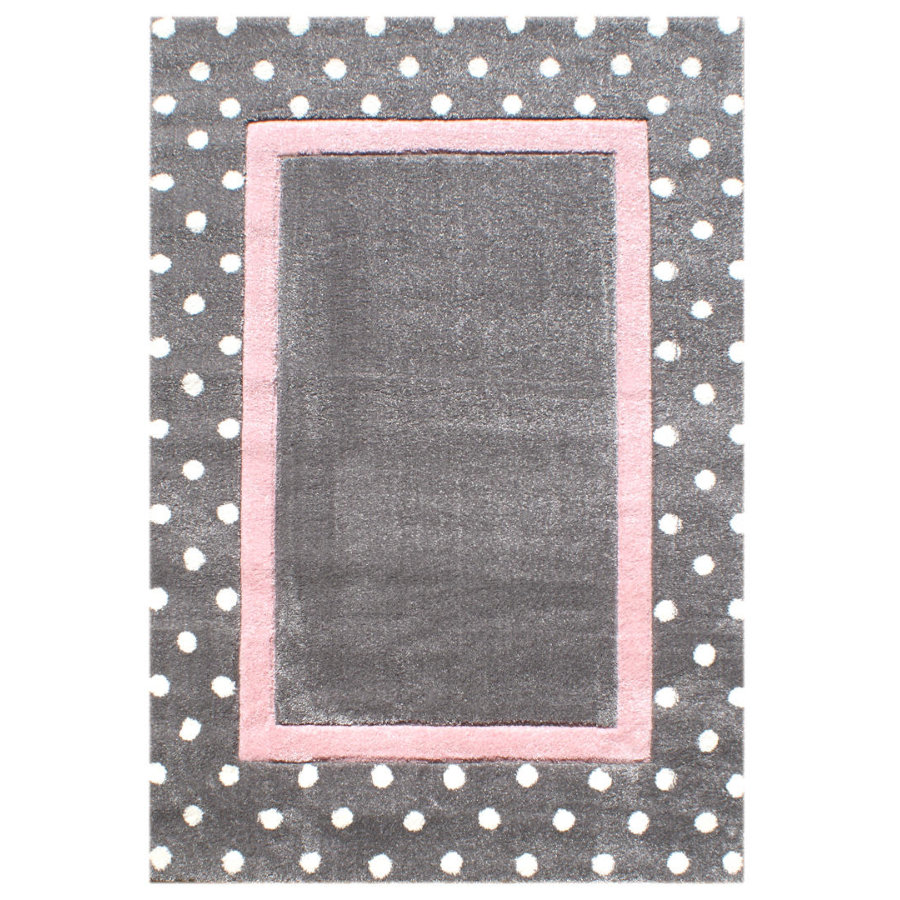 LIVONE Koberec Happy Rugs Point stříbrně šedá/růžová 120 x 180 cm