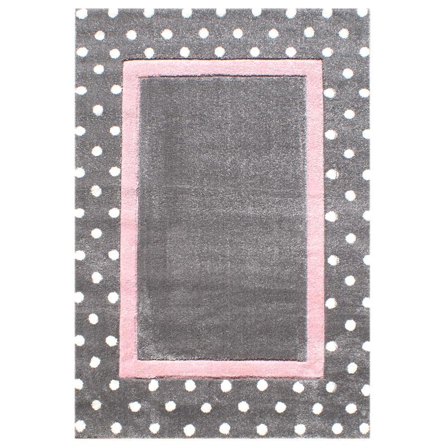LIVONE Spiel- und Kinderteppich Happy Rugs Point silbergrau/rosa 120 x 180 cm