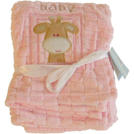 BIECO Cuddly Blanket, embroidered, light pink, 75 x 100 cm