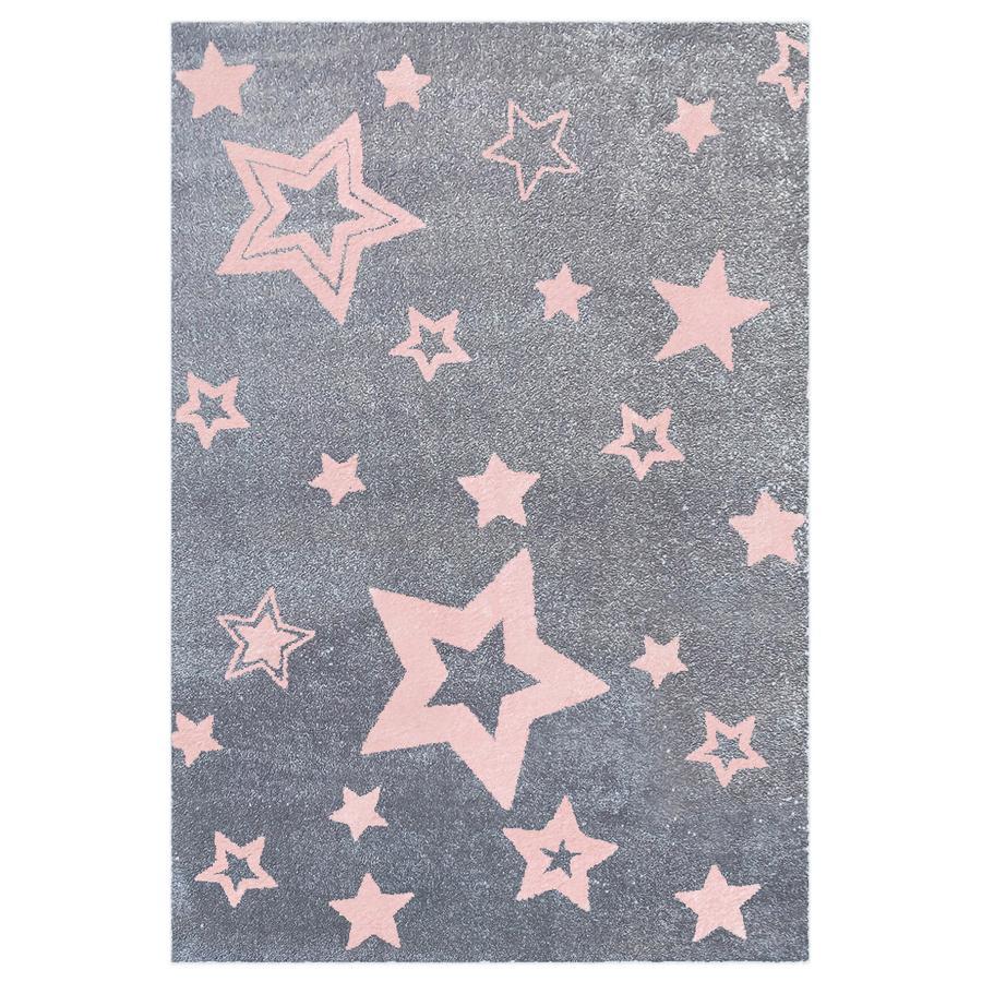 LIVONE Barnmatta Love Rugs Starlight grå/rosa 160 x 230 cm