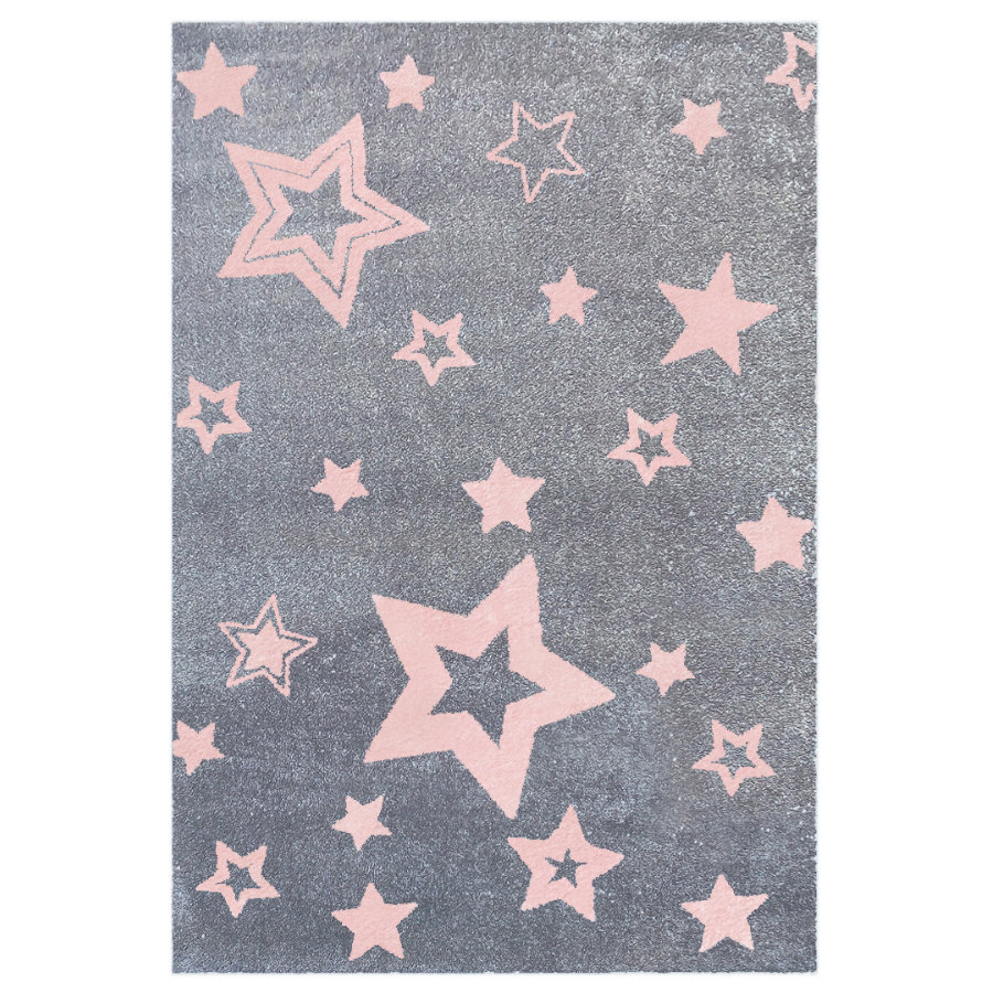 LIVONE Tapis enfant Love Rugs Starlight gris/rose, 160 x 230 cm