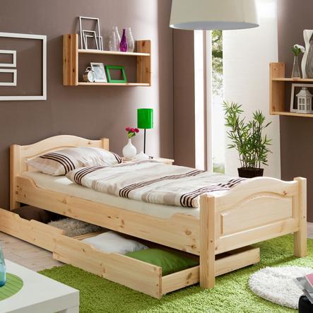 TiCAA Einzelbett Rita 90 x 200 cm Natur