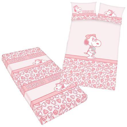 HERDING Påslakanset Peanuts inkl dra-på-lakan 100 x 135 cm rosa