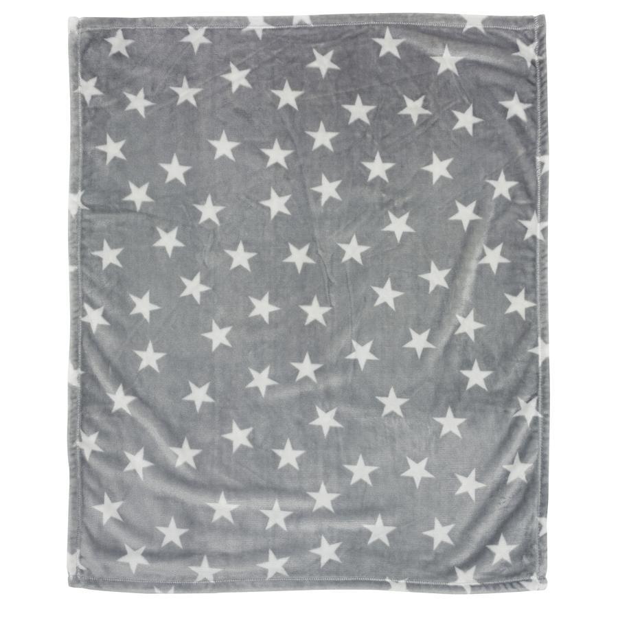 ALVI Couverture enveloppante microfibres Étoile, gris, 80 x 100 cm
