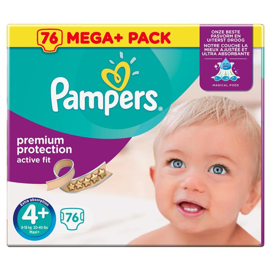 Pampers Couches Active Fit T. 4+ Maxi Plus (9-20 kg) Mega Plus Pack 76 pièces