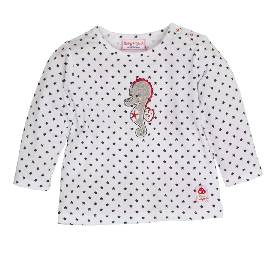 SALT AND PEPPER Baby Glück Girls Longsleeve Seepferdchen white