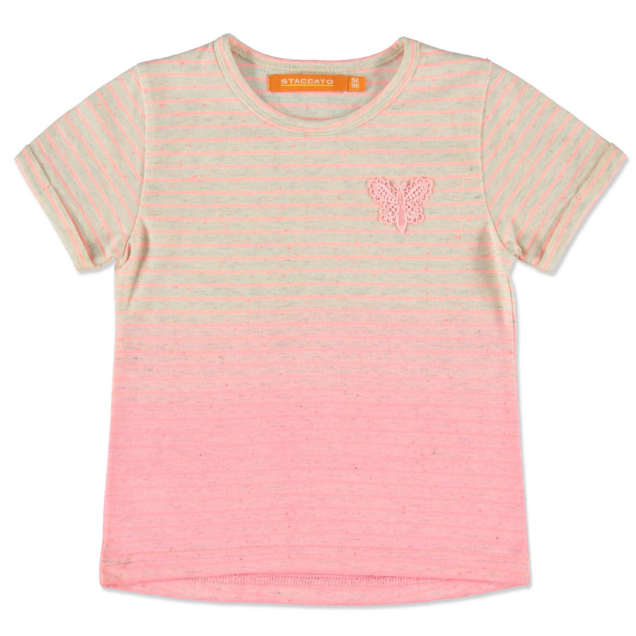 STACCATO Girls T-Shirt neon peach Streifen