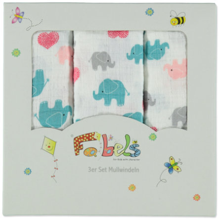 Fabels Mullwindeln 3er Pack bunte Elefanten