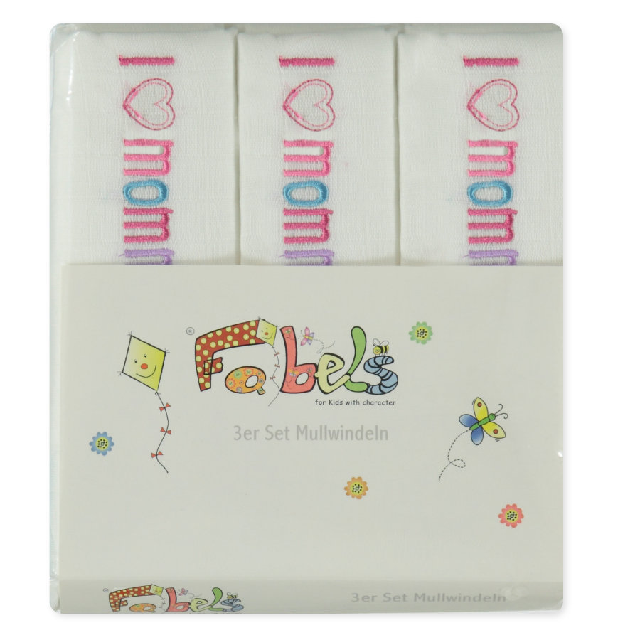 "PINK OR BLUE Pannolini 3 pezzi ""I LOVE MOMMY"" bianco"