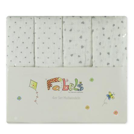 Fabels Babyfiltar 4-pack, prickiga med hjärtan
