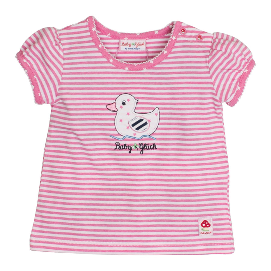 SALT AND PEPPER Baby Glück Girls T-Shirt Ente Ringel candy pink
