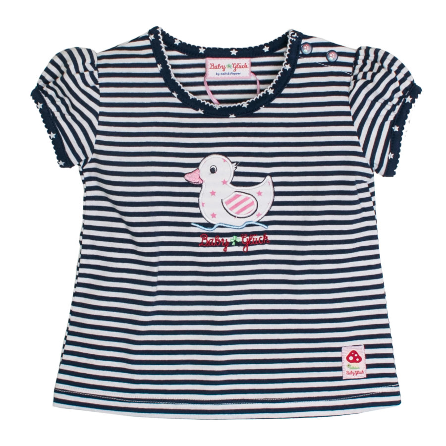 SALT AND PEPPER Baby Glück Girls T-Shirt Ente Ringel navy blue