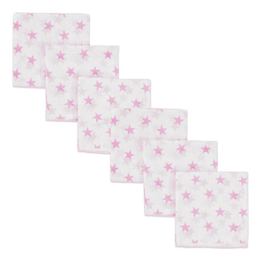 pink or blue Langes étoiles mousseline rose 70x70 cm, lot de 6
