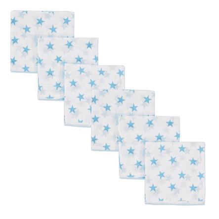 pink or blue Langes étoiles mousseline bleu 80x80 cm, lot de 3