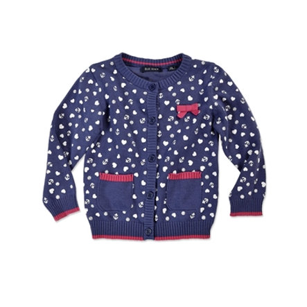 BLUE SEVEN Girls Strickjacke Herzchen blau