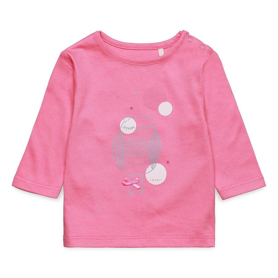 ESPRIT Koszulka z długim rękawem w kolorze słodkiego różu.