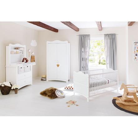 Pinolino Lit enfant, étagère plan à langer, armoire 2 portes, Florentina
