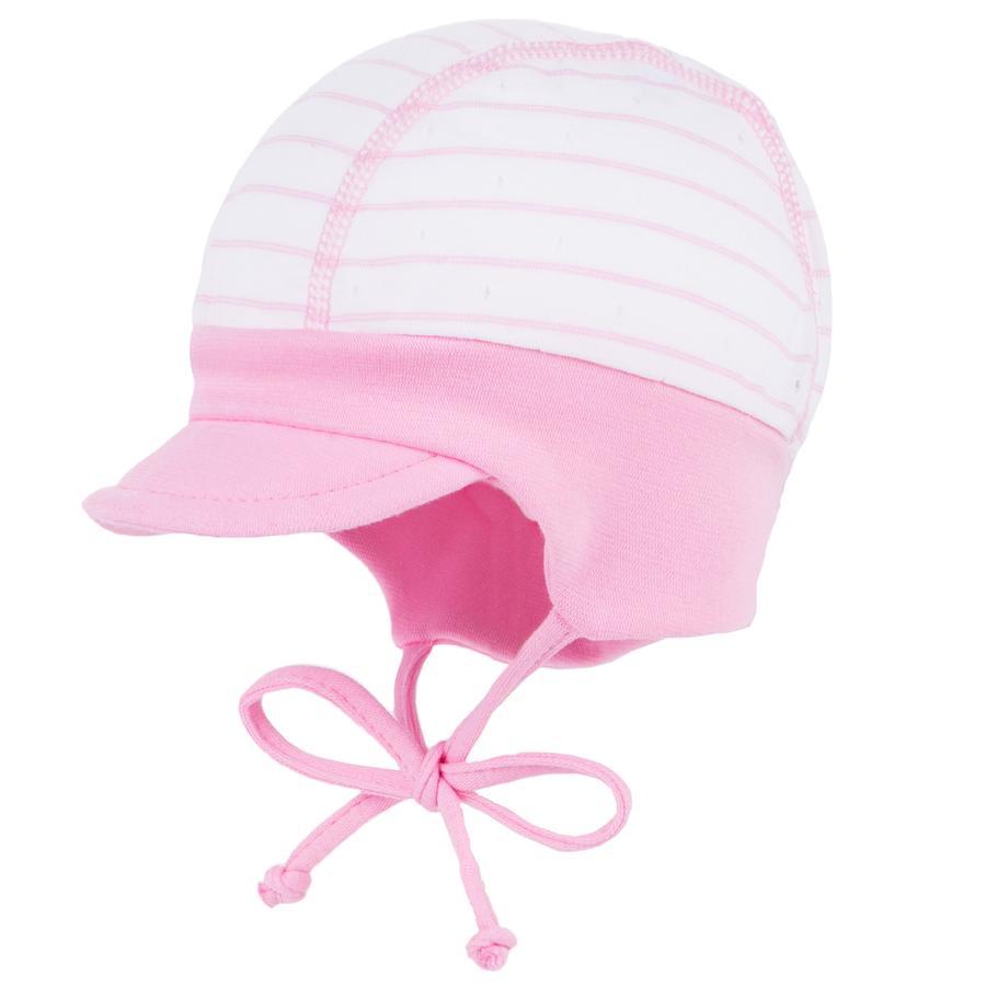 maximo Girls Schildmütze Strukturringel weiß-rosa