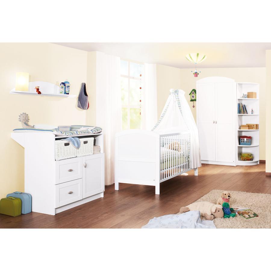 Pinolino Ensemble lit bébé commode à langer armoire 2 portes Laura blanc