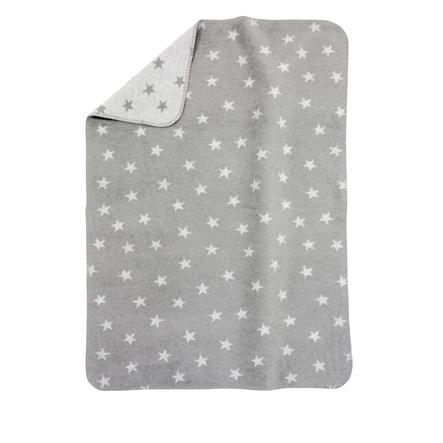 ALVI Babydecke Baumwolle mit Kettelkante Sterne grau