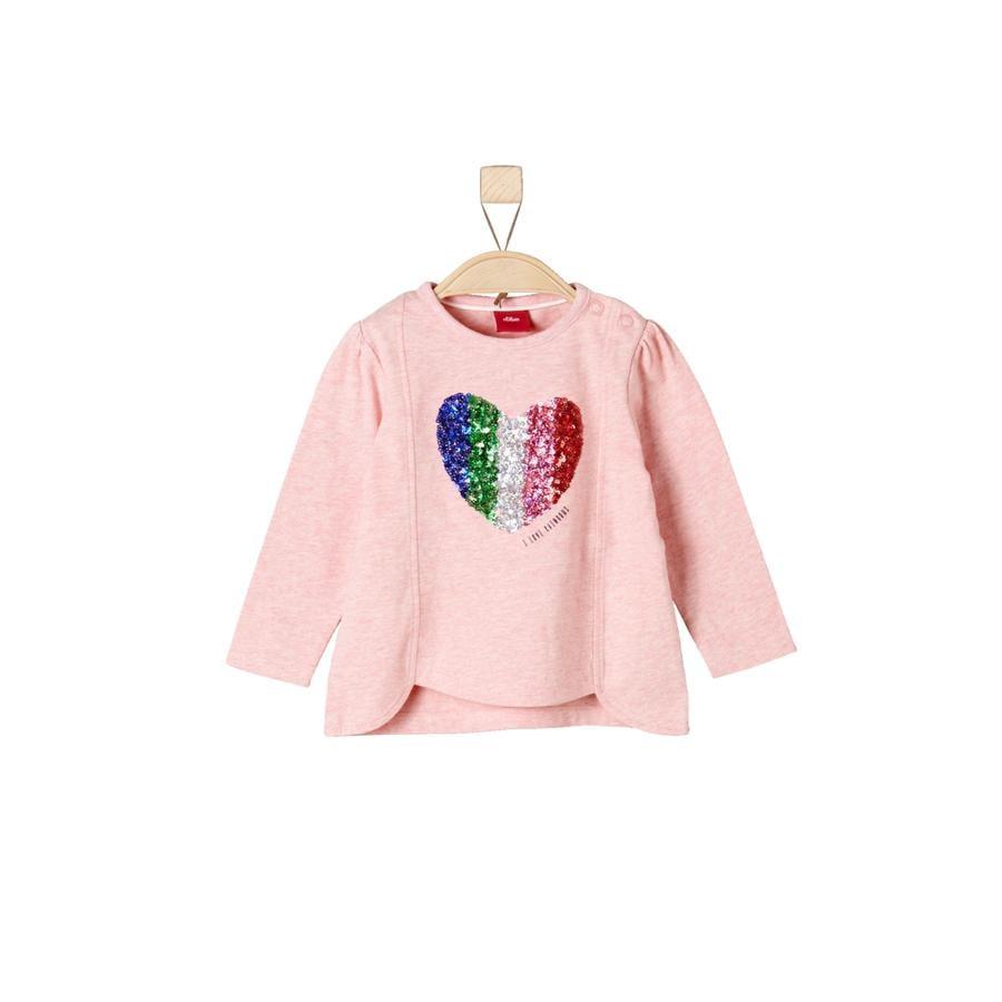 s.Oliver Mélange rosa claro de manga larga