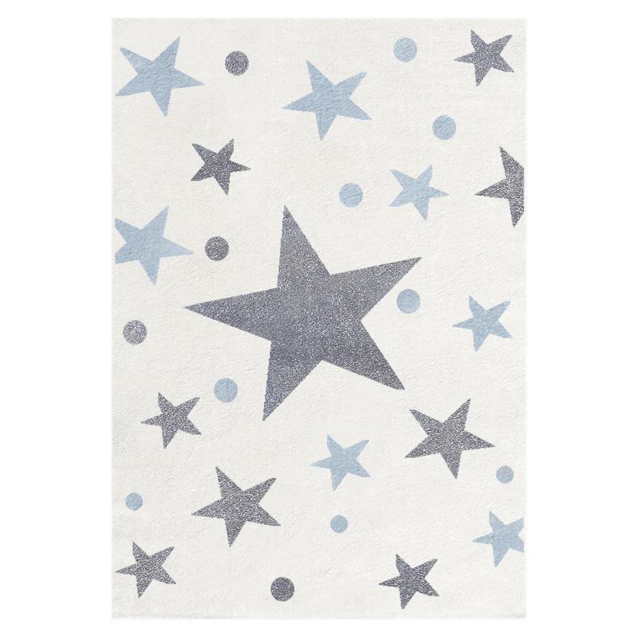 LIVONE Barnmatta Happy Rugs Stars creme/silvergråblå 120 x 180 cm