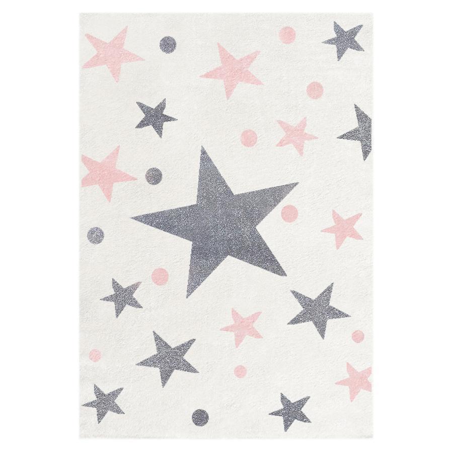 LIVONE Spiel- und Kinderteppich Happy Rugs Stars creme/silbergrau-rosa 80 x 150 cm