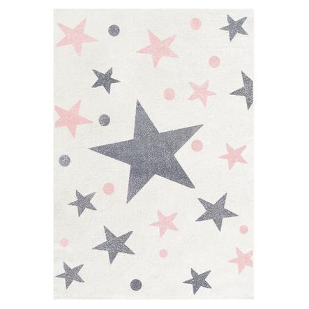 LIVONE Happy Rugs Lastenhuoneen matto, Stars/creme/harmaa/vaaleanpunainen, 120 x 180 cm