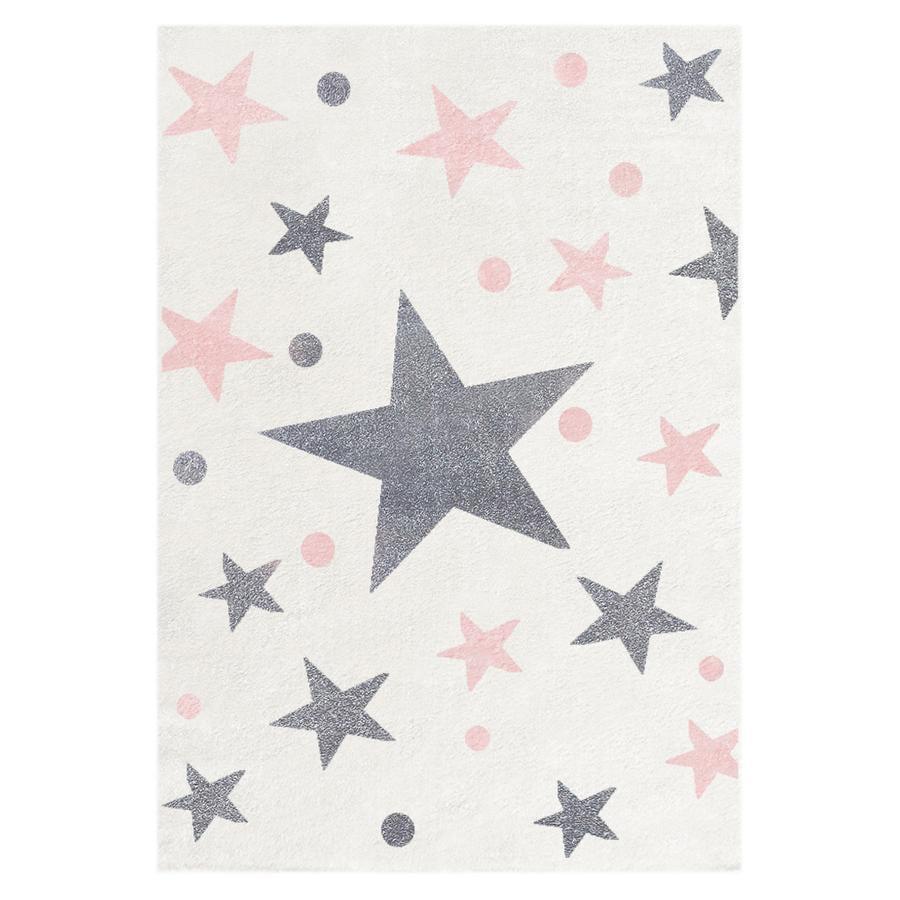 LIVONE Barnmatta Happy Rugs Stars creme silvergrårosa 120 x 180 cm