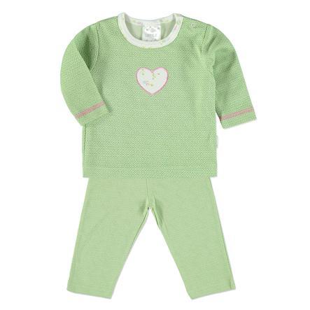 LITTLE Schlafanzug Retro grün Herz