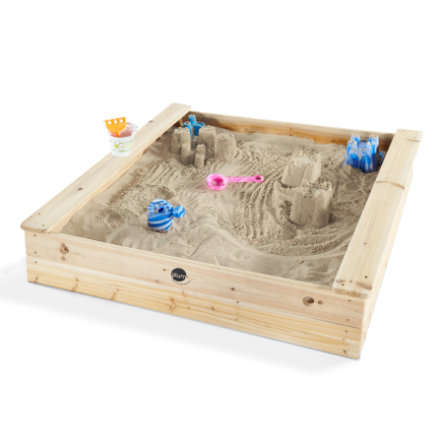 plum® Quadratischer Kinder Holz Sandkasten mit Sitzbänken