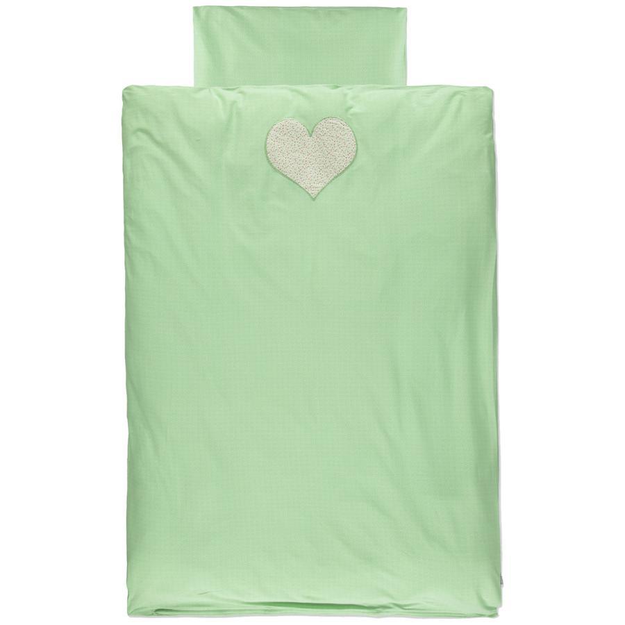 LITTLE Retro Jersey Bettwäsche 2tlg. grün Herz 100x135 cm