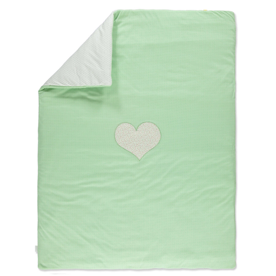 LITTLE  Retro Copertina bebé coperta verde cuore 100x135 cm