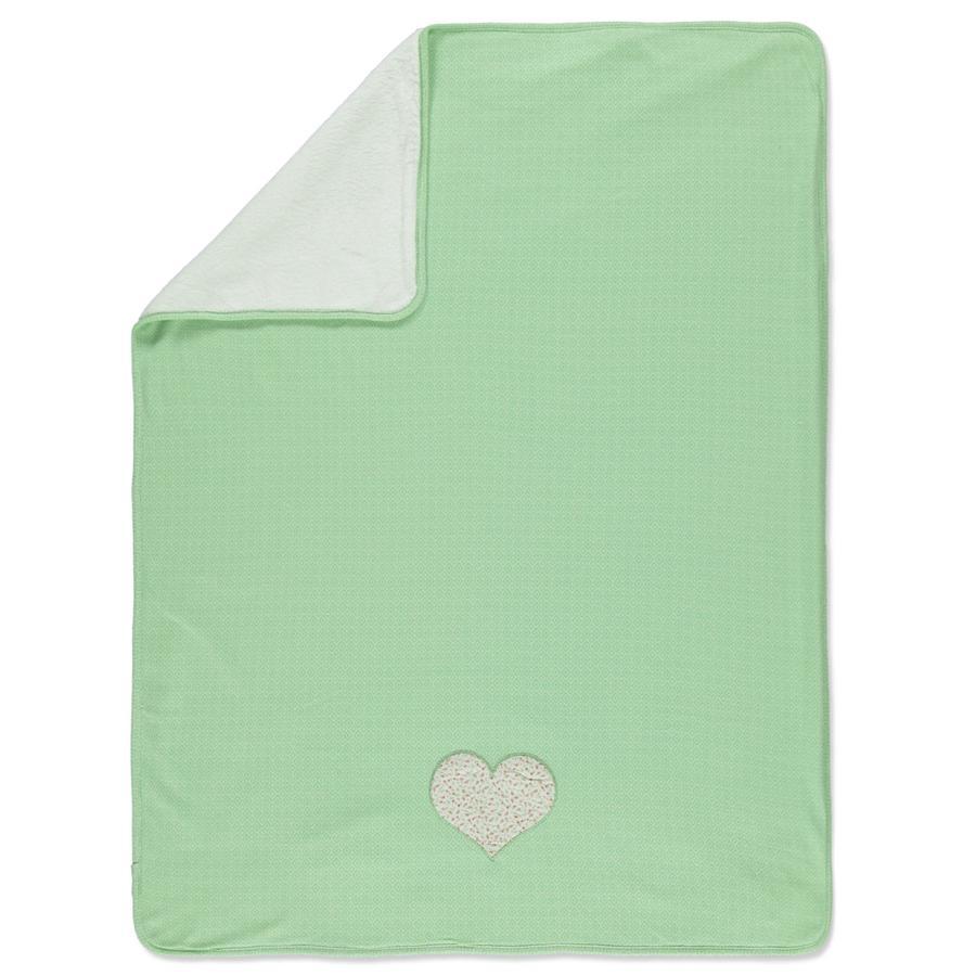 LITTLE  Retro omkeerbaar deken groen hartje 70x100 cm