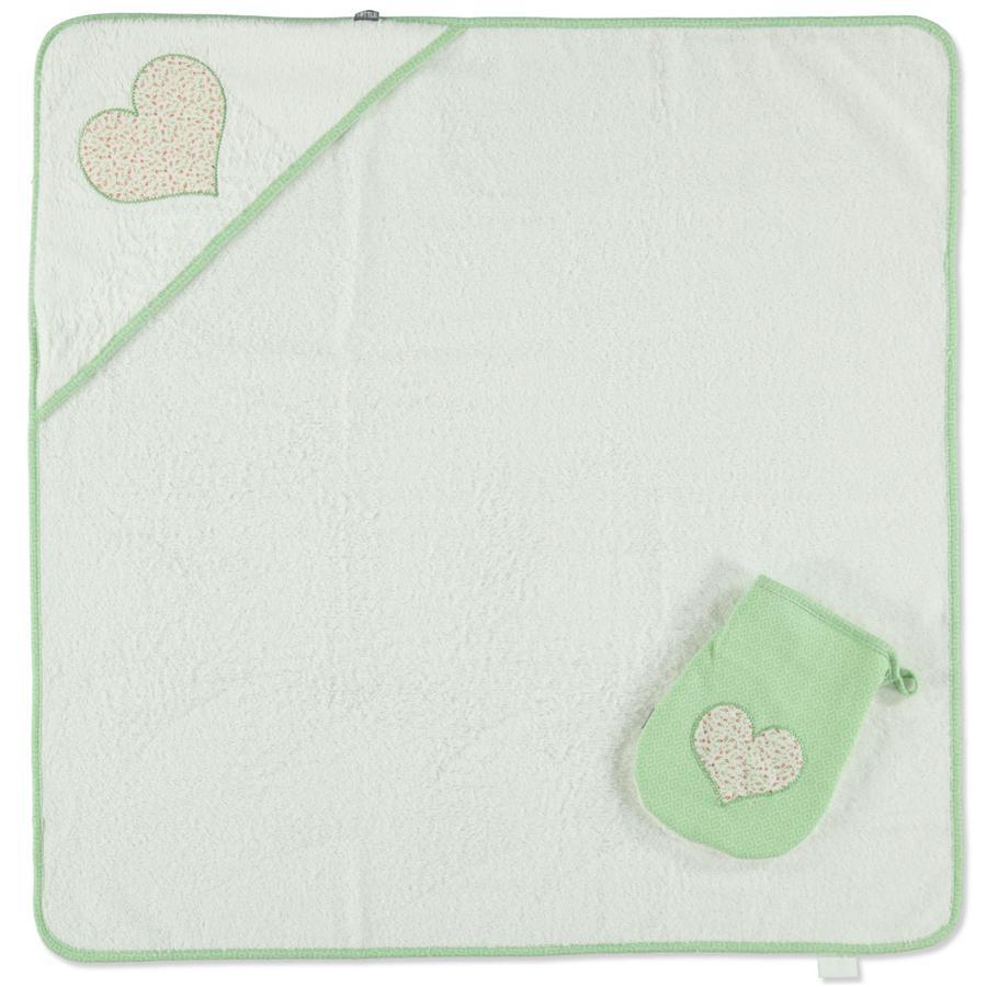 LITTLE Retro Kapuzenbadetuch + Waschhandschuh grün Herz 75 x 75 cm
