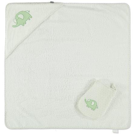 LITTLE Retro Badhandduk med luva + tvättlapp, grå elefant 75 x 75 cm