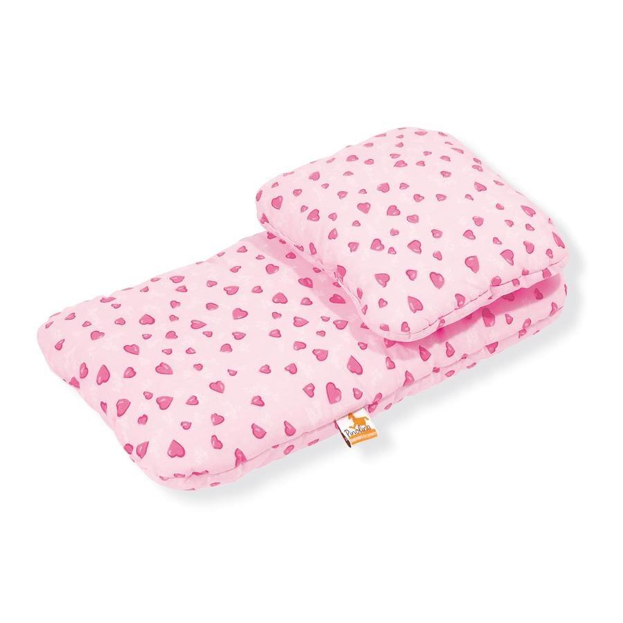 Pinolino Biancheria da letto per carrozzina per bambola cuori rosa, 2 pezzi