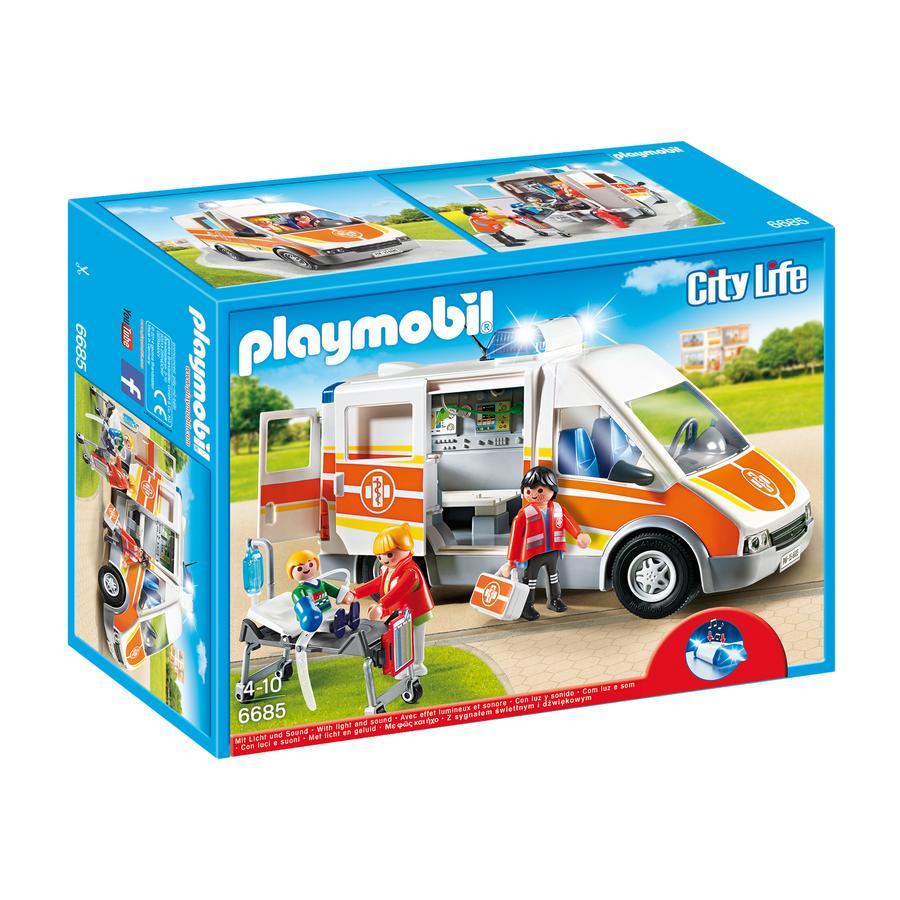 PLAYMOBIL® City Action Ambulancia con luces y sonido 6685