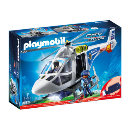 PLAYMOBIL® CITY ACTION Polizei-Helikopter mit LED-Suchscheinwerfer 6874
