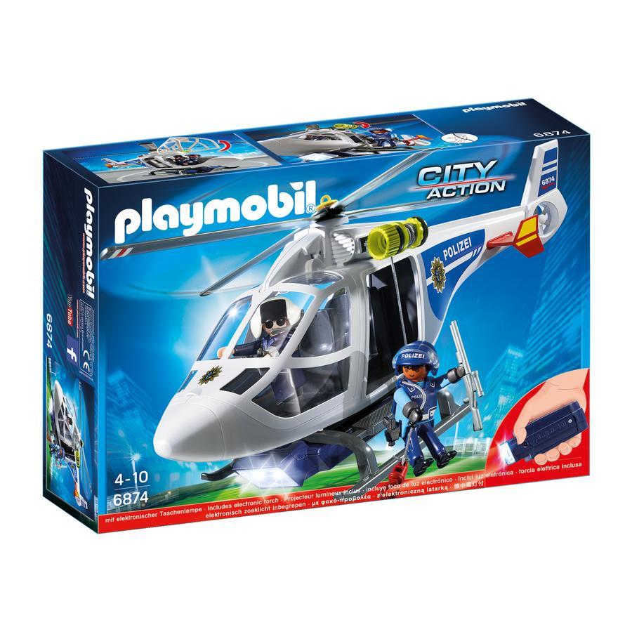 PLAYMOBIL® City Action Politihelikopter med LED projektør 6874
