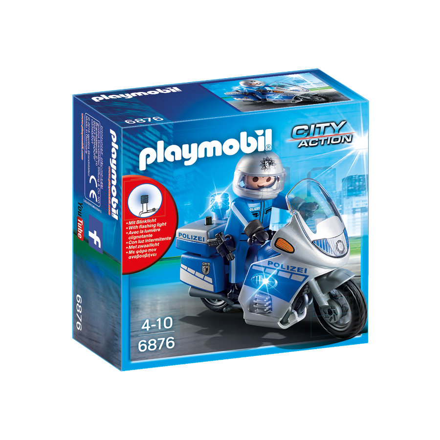 PLAYMOBIL® CITY ACTION Motorradstreife mit LED-Blinklicht 6876