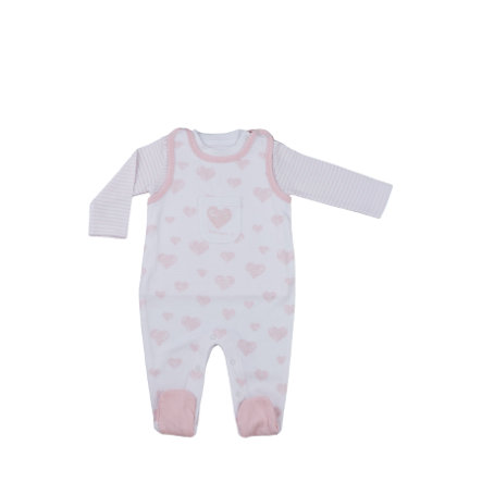 LITTLE Nature Strampler Set rosa Herz