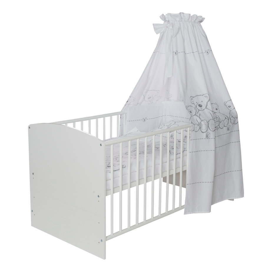 schardt bettset 4 teilig 100 x 135 cm teddy wei baby. Black Bedroom Furniture Sets. Home Design Ideas